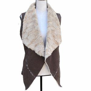 Double Zero Faux Leather Vest Open front Boho